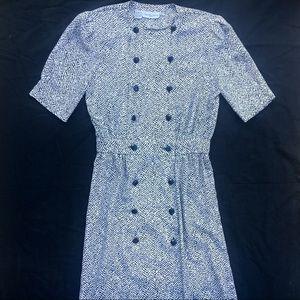 Vintage Minimalist Printed Full Button Shirt Dress